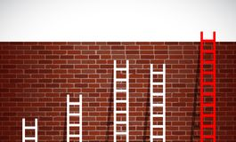 Set of ladders and brick wall. illustration design Stock Photo