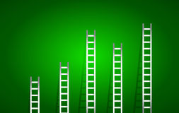 Set of ladders over a green gradient Stock Photography