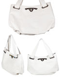 Set of ladies white leather handbags isolated Royalty Free Stock Images