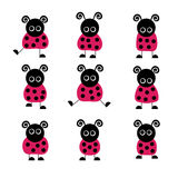 Set of Lady Bugs. Nine cute lady bugs in a set Royalty Free Stock Image