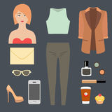 Set of lady clothes and accessories Royalty Free Stock Image