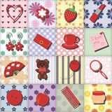 Set with lady objects on patchwork background. Illustration Royalty Free Stock Photos