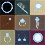 Set with lady objects on patchwork Royalty Free Stock Image
