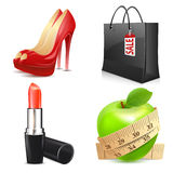 Set of lady's accessories, icons Stock Images