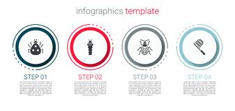 Set Ladybug, Larva insect, Chafer beetle and Butterfly net. Business infographic template. Vector
