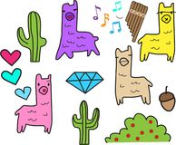 Lama set many colors with ethnic stuffs vector illustration