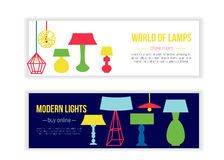 Set of lamp banners for shop. Flat furniture decoration isolated on white background Royalty Free Stock Images