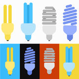 Set of lamp. S with more icon flat design Stock Illustration