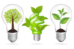 Set Lamps. Eco Concept, Isolated On White Background, Vector Illustration Royalty Free Stock Image