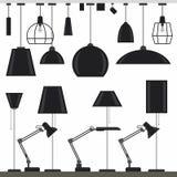 Set of lamps. Modern lamps set. Flat style vector illustration royalty free illustration