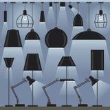 Set of lamps. Modern lamps set. Flat style vector illustration stock illustration