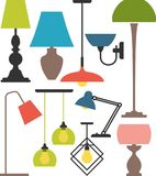Set of lamps. Vector set of different types of indoor lighting Royalty Free Stock Images