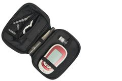 Set lancety, cukrowy monitor dla czeka krwionośnego glucoxe równego w d zdjęcie royalty free