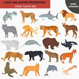 Set of land and water predators color flat icons Royalty Free Stock Photography