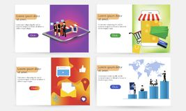 A set of landing page templates for online purchases, digital marketing, teamwork, business strategy. Modern concepts stock illustration