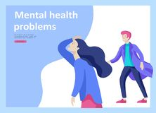 Set of Landing page templates for psyhology mental problems, depression panic attacks, paranoia anger control. Landing page templates for psyhology mental royalty free illustration
