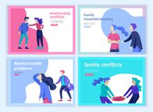 Set of Landing page templates for psyhology mental problems, depression panic attacks, paranoia anger control. Relationship family conflict, stress and vector illustration