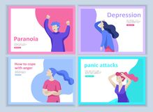 Set of Landing page templates for psyhology mental problems, depression panic attacks, paranoia anger control. Relationship family conflict, stress and royalty free illustration