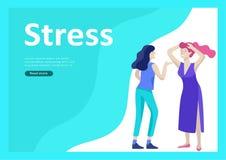 Set of Landing page templates for psyhology mental problems, depression panic attacks, paranoia anger control. Landing page templates for psyhology mental stock illustration