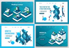 Set of landing pages of the isometric concept. Scientists research DNA structure, medical center, medical workers royalty free illustration