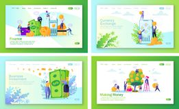Set of concept of landing pages on finance theme. vector illustration