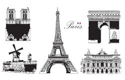 Set of landmarks of Paris stock illustration
