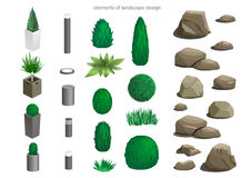 Set of landscape elements. Lamps, stones, flower beds, plants for the design of the garden or the park isometric Royalty Free Stock Photos
