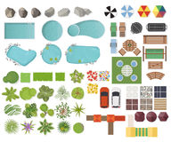Set Landscape elements, top view. Garden, tree, lake, swimming pools, bench, table.Landscaping symbols, Outdoor furniture set isol. Set Landscape elements, top