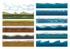 Set of landscape land, sea and cloud backgrounds. For mobile game illustration Stock Photos