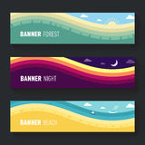 Set of landscape scenes banners Royalty Free Stock Photo