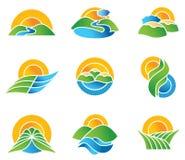 Set of landscape symbols. And icons Royalty Free Stock Image