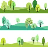 Set of landscape with trees Stock Photo