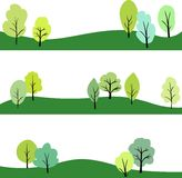 Set of landscape with trees Stock Image