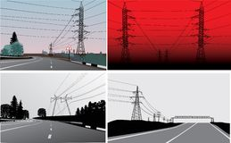 Set of landscapes with electric lines Royalty Free Stock Photos