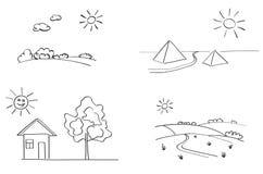 Set of landscapes - illustration - vector Stock Photo
