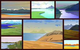 Set of landscapes with lakes. Different times of the year. Vector illustration Stock Photography