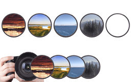 Set of landscapes throw camera filter isolated Stock Images
