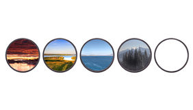 Set of landscapes throw camera filter isolated Stock Image