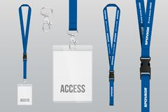 Set of lanyard and badge. Metal piece. Plastic badge. Template. For presentation of their design. realistic illustration stock illustration