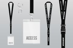 Set of lanyard and badge. Metal piece. Plastic badge. Template. For presentation of their design. realistic vector illustration royalty free illustration
