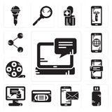 Set of Laptop, Pendrive, Smartphone, Vhs, Video call, Film reel, Share icons. Set Of 13 simple  icons such as Laptop, Pendrive, Smartphone, Vhs, Video call, Film Royalty Free Stock Photos