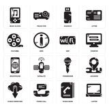 Set of Laptop, Phone book, Cloud computing, Microphone, Smartphone, Wifi, Film reel, Pendrive, Music player icons. Set Of 16 simple  icons such as Laptop, Phone Royalty Free Stock Photography