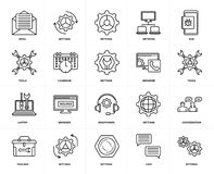 Set of  Laptop, Settings, Chat, Conversation, Headphones, Tools, Email, Calendar, Browser, Bug icons. Set Of 20 icons such as Settings, Chat, Toolbox, Bug Royalty Free Stock Photo