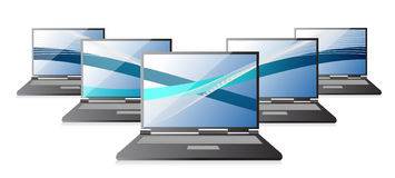 Set of laptops computers with waves, Royalty Free Stock Photography