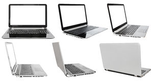 Set of laptops with cut out screens Royalty Free Stock Images