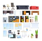 Set of large collection of office and home modern furniture. Set of office and home interiors creation kit. Different furniture, chairs, armchairs, sofas, table stock illustration