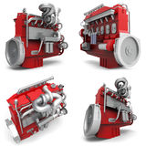 Set large diesel engine isolated on a white background. 3d illustration Royalty Free Stock Photo