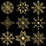 Set large gold snowflakes Royalty Free Stock Images