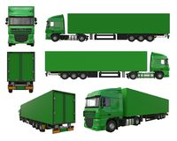 Set large green truck with a semitrailer. Template for placing graphics. 3d rendering. Set large green truck with a semitrailer. Template for placing graphics Royalty Free Stock Photography