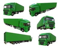Set large green truck with a semitrailer. Template for placing graphics. 3d rendering. Set large green truck with a semitrailer. Template for placing graphics Stock Images